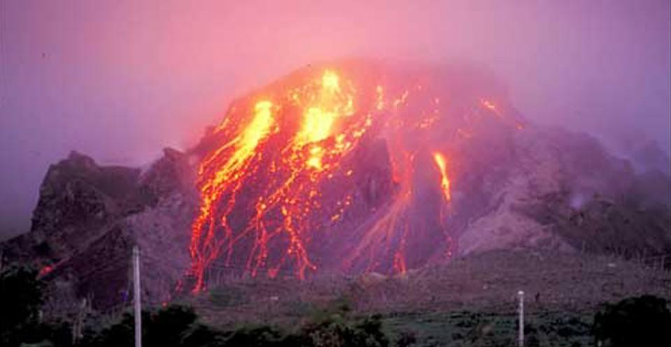 Lava dome incandescence, Soufrière Hills