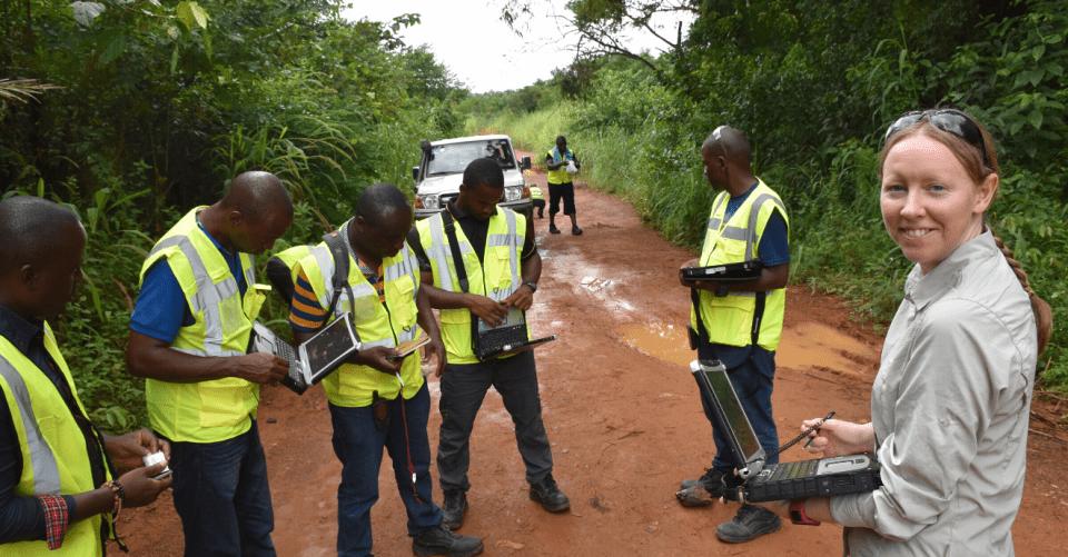 A BGS staff member undertaking fieldwork with the National Minerals Agency, Sierra Leone