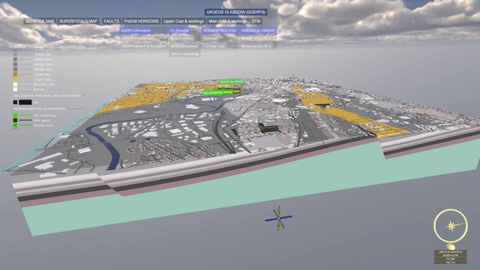 Image from a GeoVisionary visualisation, developed for UKGEOS, showing a geological model of Glasgow combined with a city model, controlled by a custom user interface
