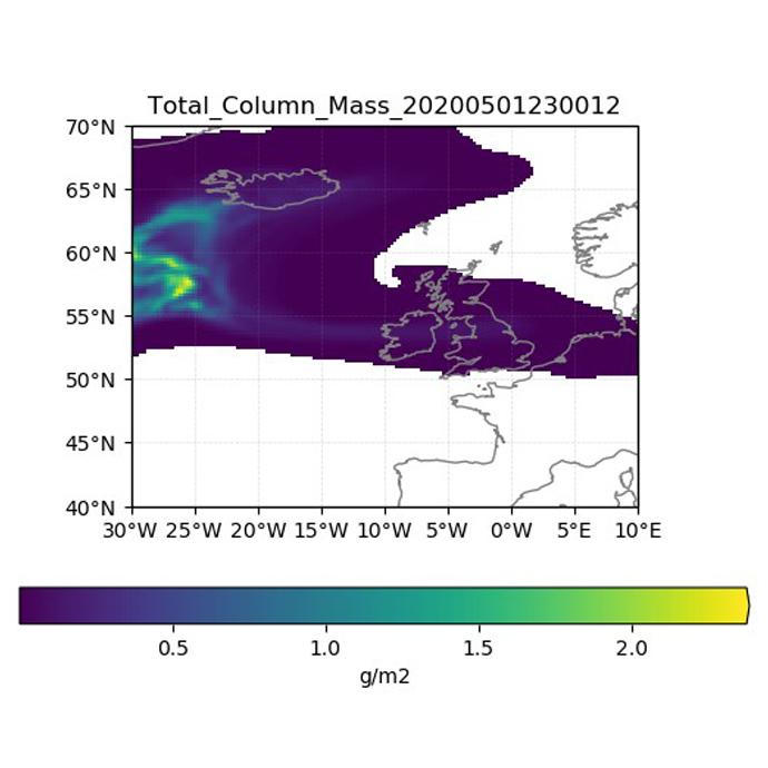 Volcanic particle deposition plot