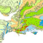 Map showing groundwater flood warnings (triangles) and alerts (dots) on the Chalk aquifer (dark green) in Wessex, on 18 Feb 2020.