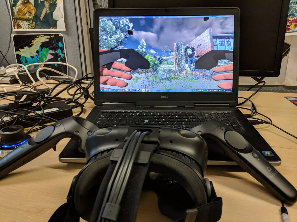 The 3DVS team is developing VR visualisations with hardware like the HTC Vive (pictured above) and Microsoft Hololens. Models for VR viewing can be deployed in websites like Sketchfab.