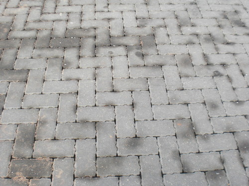 Example of permeable paving blocks showing the uneven edges