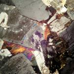 Thin section. Granite from the Cairngorm Pluton, sample from the cliffs of Coire nan Clach, Beinn a' Bhuird. Light: XPL.