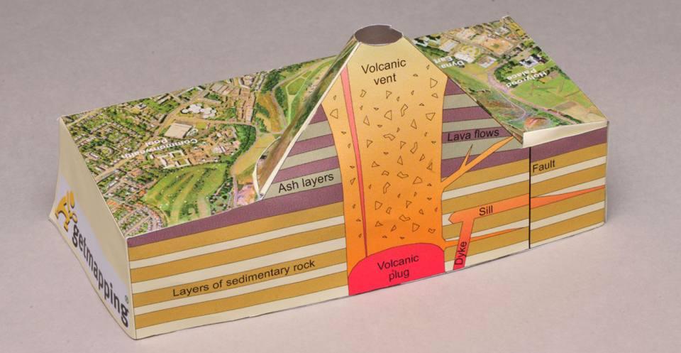 The completed volcano model, Arthur's Seat, Edinburgh, Scotland. P757003