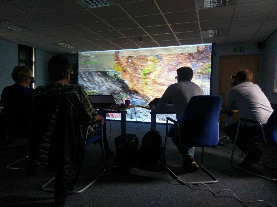Visiting colleagues from the Swedish Geological Survey in the BGS immersive 3D Visualisation Faciity