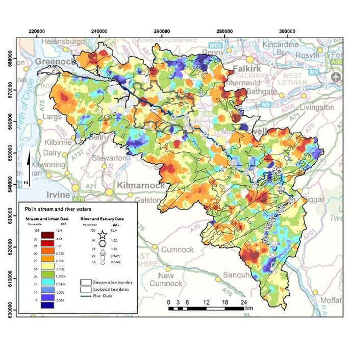 Lead concentrations in Clyde Basin surface water