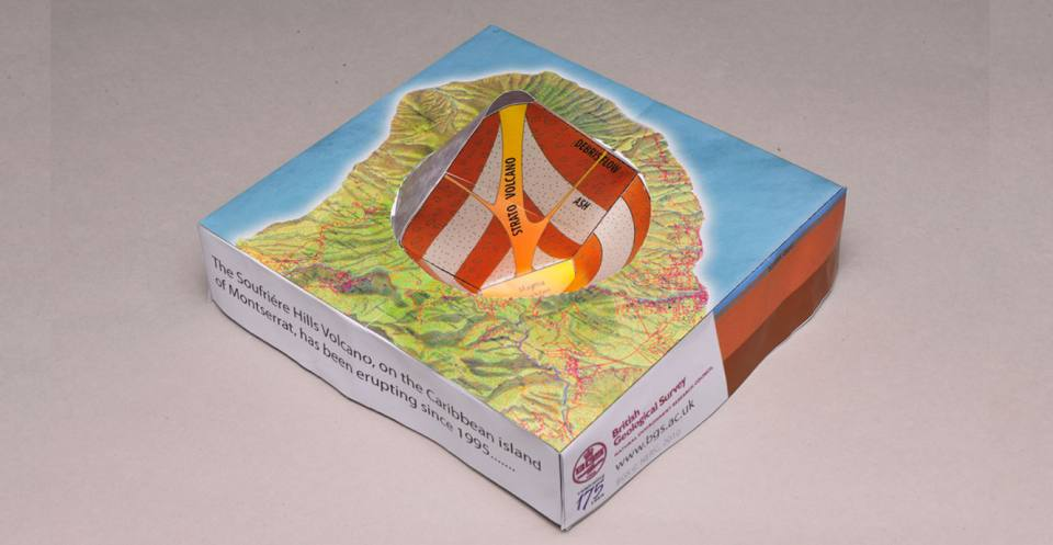 The completed volcano model, Soufrière Hills,Montserrat, Carribean. This model (not to scale) shows how the volcano is formed from the subducting tectonic plates, and the lava dome with a pyroclastic flow coming from it.