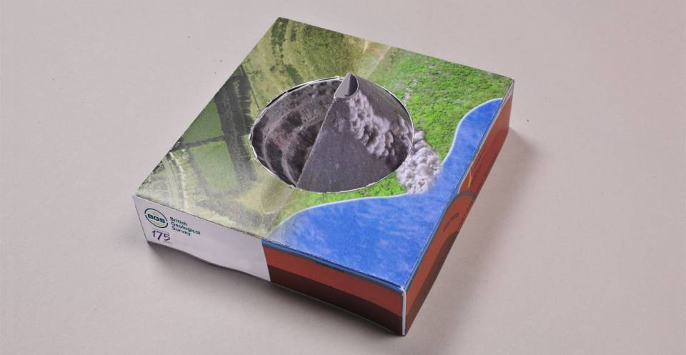 The completed volcano model, Bardon Hill Quarry, Leicestershire, England. The model is not to scale. The volcano that deposited the Bardon Hill rocks would have been much larger than the diameter of the quarry.