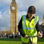 BGS geologist working in front of Big Ben