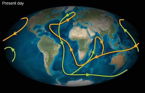 Ocean currents present day