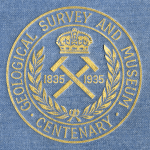 The logo created in 1935 for the centenary celebration of the Geological Survey and Museum.