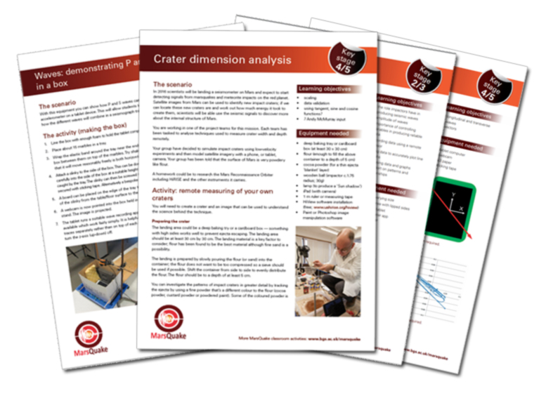 Download the classroom activity resource sheets below; including waves, locating craters using high resolution imagery and working with simple sensors.