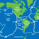 Plate tectonic map of the world showing direction of movement