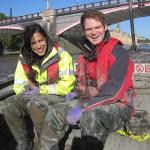 BGS supervisor Chris Vane and BUFI PHD student Nicole Khan tracking river-estuary- coastal environmental pollution.
