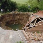 Sinkhole caused by collapse of soluble rocks