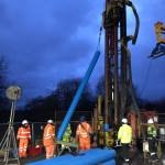 Installation of uPVC casing, electrical resistivity tomography (ERT) and fibre-optic cable into Borehole GGA07 at the UK Geoenergy Observatory in Glasgow in December 2019