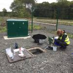 BGS scientist sampling groundwater from a mine-water borehole at the Glasgow Observatory