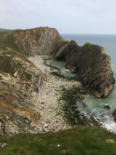 Folded bedded rocks on the coast of Dorset known as the Lulworth Crumple