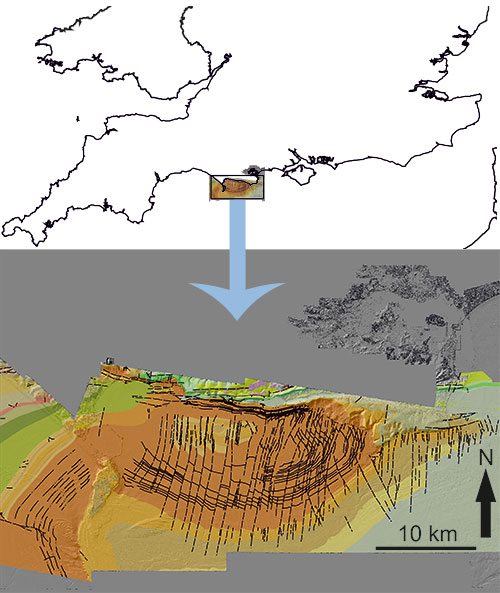 A map showing the on and offshore geology of the Jurassic Coast of Dorset