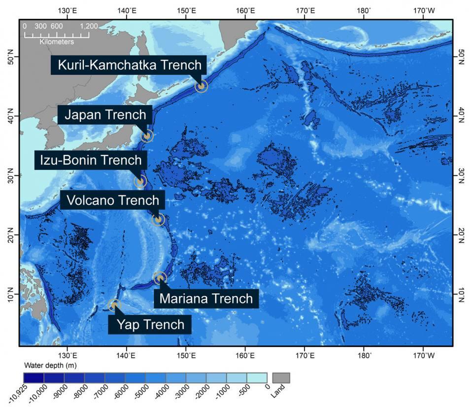Figure 1: Hadal zones of the Northwest Pacific Ocean.