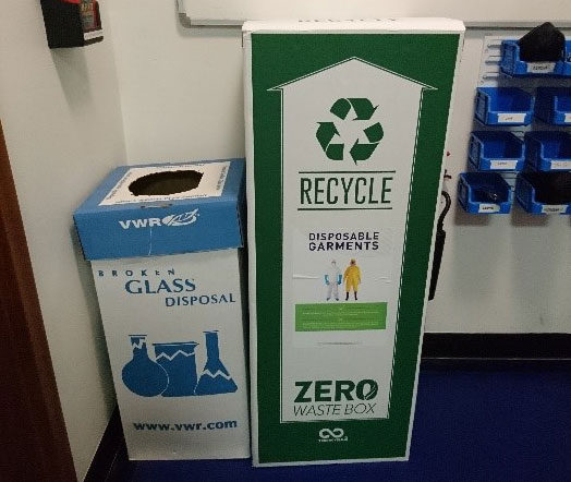 Glass and Lab garment recycling points