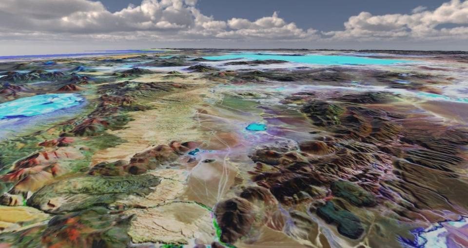 A 3D image created in Geovisionary showing ridges and valleys in Argentina