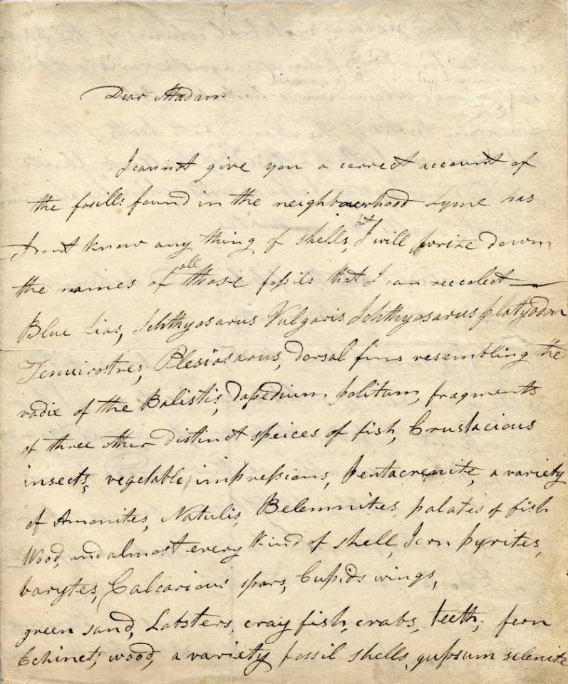 hand written letter from Mary Anning (Page 1)