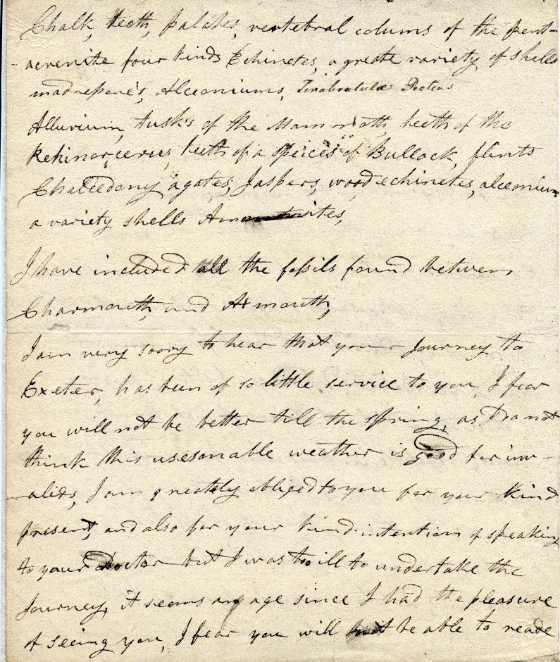hand written letter from Mary Anning (Page 2)
