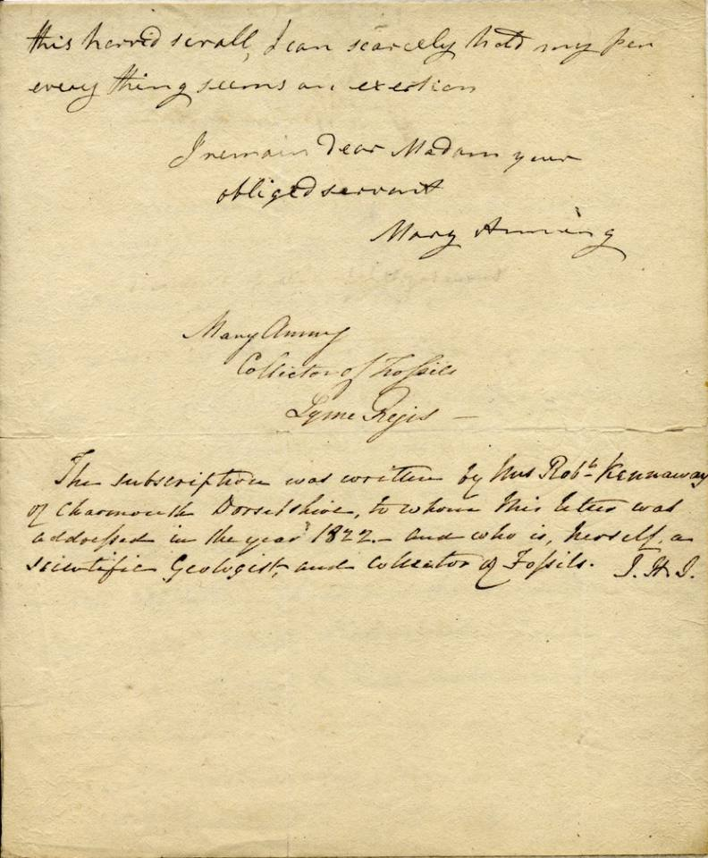 hand written letter from Mary Anning (Page 3)