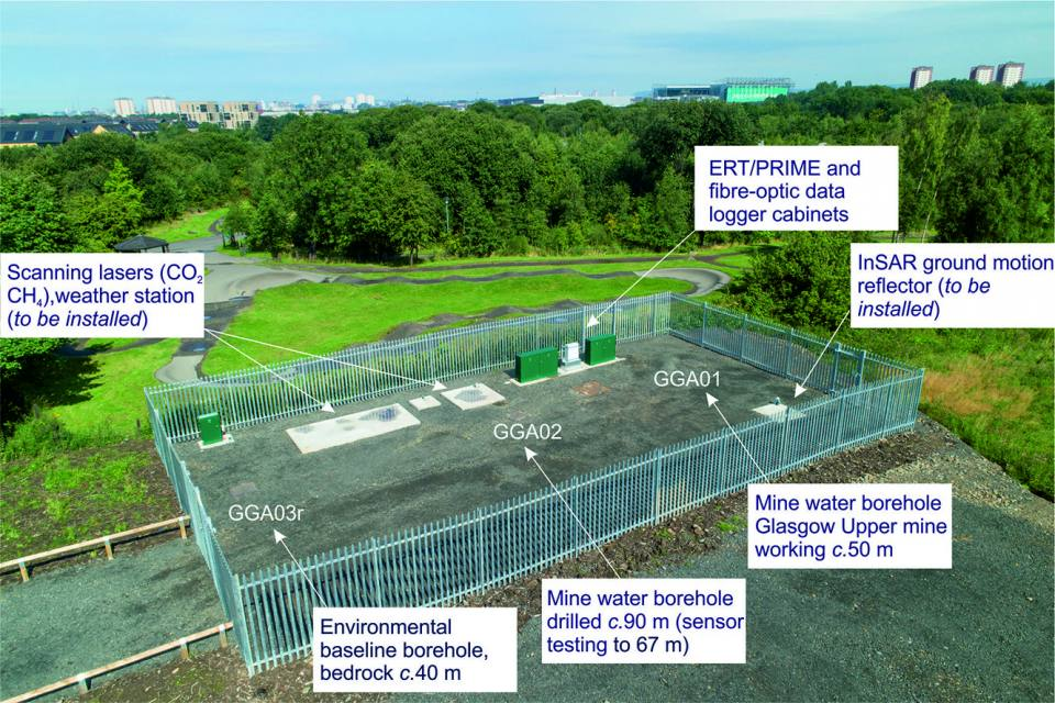 One of the research compounds at the Glasgow UK Geoenergy Observatory