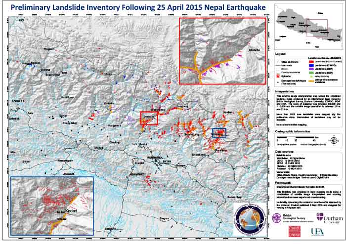 A map landslides in Nepal