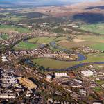 Aerial view of the meander of the River Forth outside Stirling.