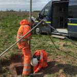 BGS preparing fluid samples for noble gas testingat the Geoenergy Test Bed (GTB) Sutton BoningtonBGS © UKRI 2020
