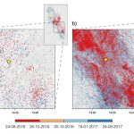 Figure 1. A year of seismicity in the epicentral area of the 2016 M=6.0 Amatrice earthquake (star) in Italy color coded by time of occurrence. (a) Real-time catalog, available at http://cnt.rm.ingv.it/ and (b) machine-learning catalog1 are shown for event magnitudes above their respective magnitude of completeness1,2 Mc=2.2 and Mc=0.5 (from Beroza et al., 2021).