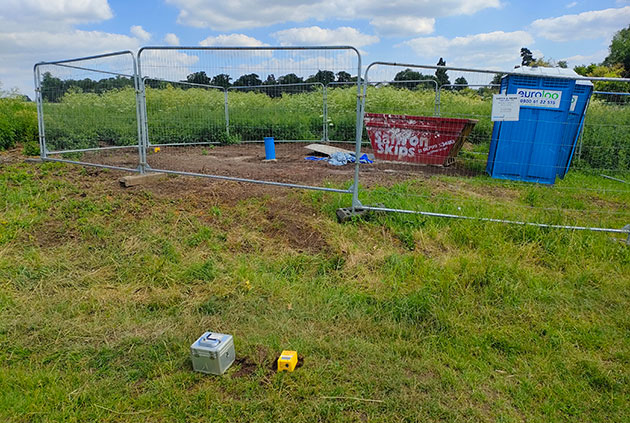 Borehole completed with Tromino in foreground for scale. BGS © UKRI.