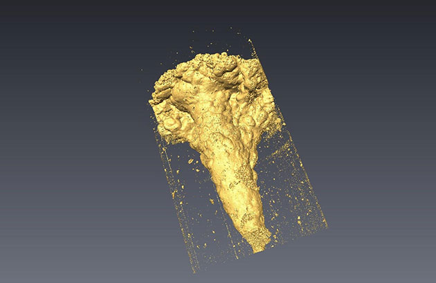 A void developed in halite in West Lancashire, imaged as a 3D model. © BGS / UKRI.